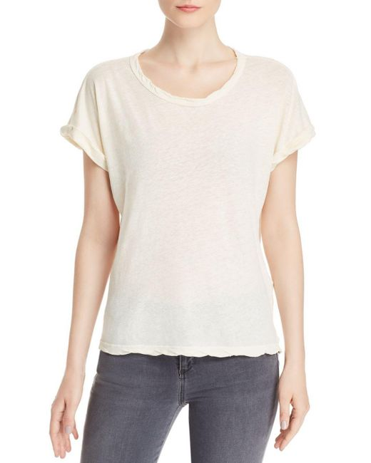 Current/Elliott White The Rolled Twisted - Trim Tee