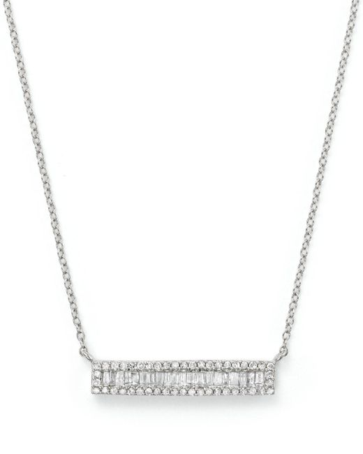 Bloomingdale's - Diamond And Baguette Bar Necklace In 14k White Gold, .30 Ct. T.w. - Lyst