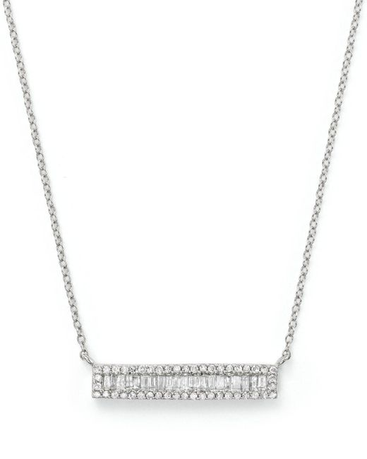 Bloomingdale's - Diamond And Baguette Bar Pendant Necklace In 14k White Gold, .30 Ct. T.w. - Lyst