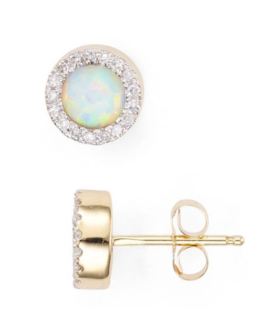 Adina Reyter Metallic Opal & Diamond Disc Stud Earrings