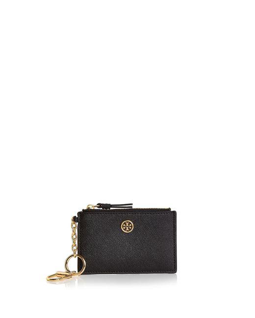 Tory Burch - Black Robinson Leather Card Case - Lyst