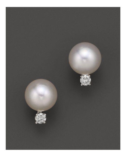 Tara Pearls   White Akoya Cultured Pearl Stud Earrings With Diamonds   Lyst