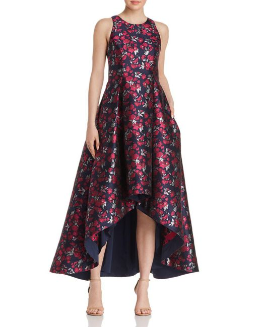 Aidan By Aidan Mattox - Pink Floral Jacquard High/low Ball Gown - Lyst