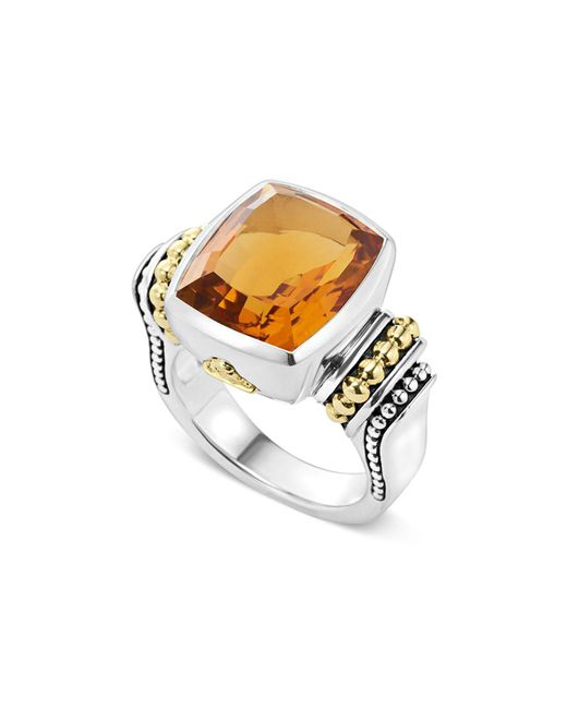 Lagos | Metallic 18k Gold And Sterling Silver Caviar Color Medium Citrine Ring | Lyst