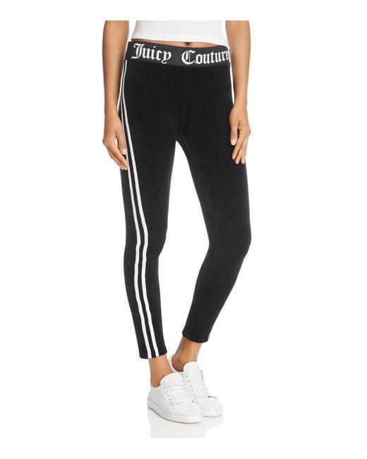 Juicy Couture - Black Striped Velour Leggings - Lyst
