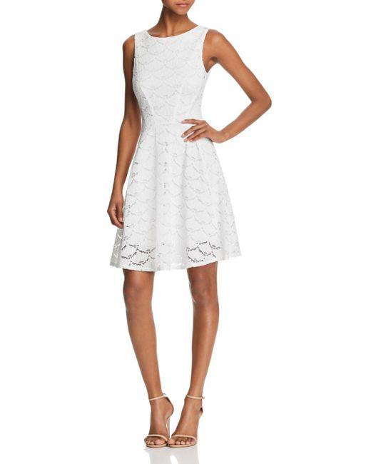 Aqua - White V-back Lace Fit-and-flare Dress - Lyst
