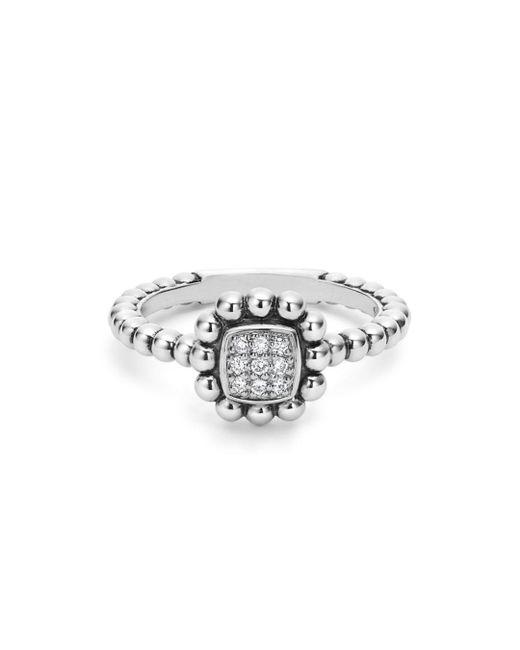 Lagos Metallic Sterling Silver Caviar Spark Diamond Square Ring