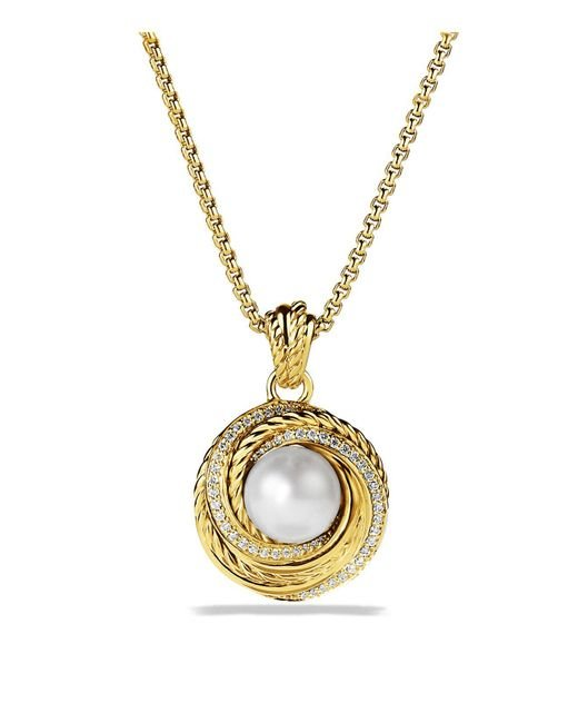 David Yurman | Yellow Pearl Crossover Pendant With Diamonds In Gold On Chain | Lyst