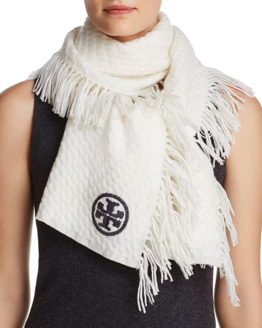 Tory Burch - White Textured Jacquard Oblong Scarf - Lyst