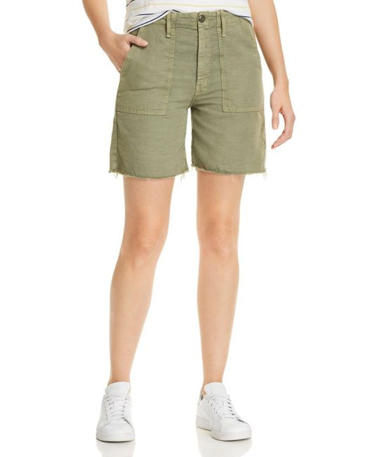 Mother The Shaker Bermuda Shorts In Army Green
