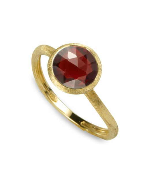 Marco Bicego Red 18k Yellow Gold Engraved Jaipur Stackable Ring With Garnet