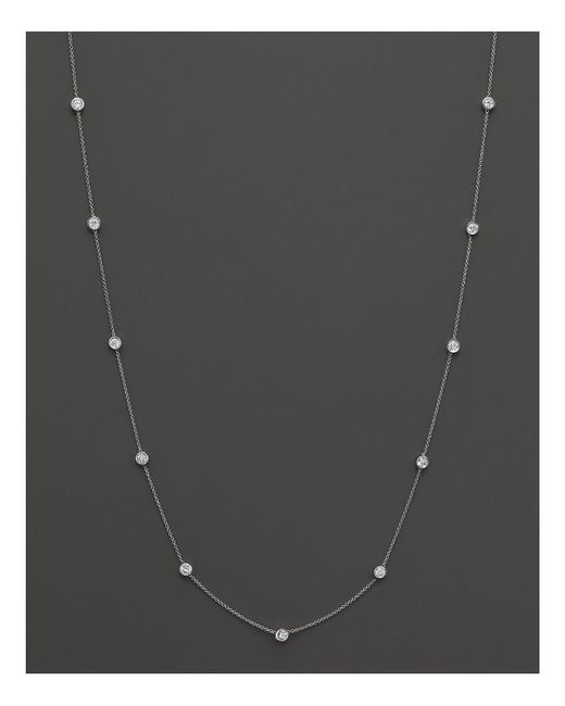 Bloomingdale's - Diamond Station Necklace In 14k White Gold, 1.0 Ct. T.w. - Lyst
