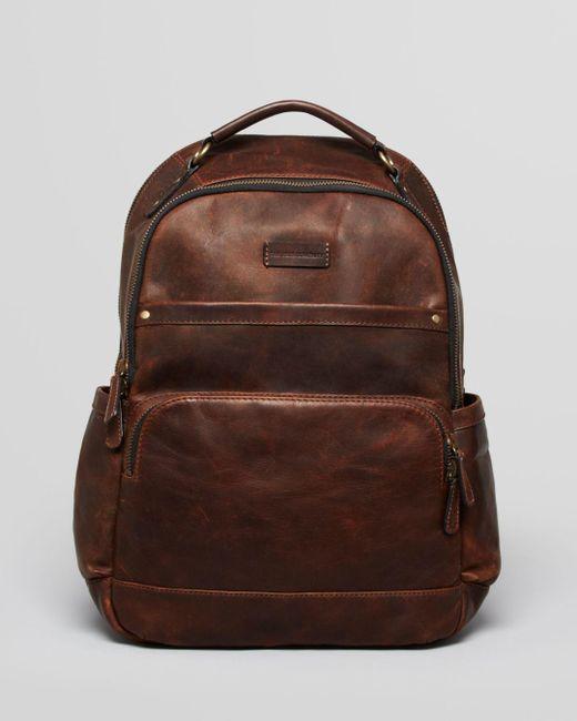 Frye Brown Logan Leather Backpack for men