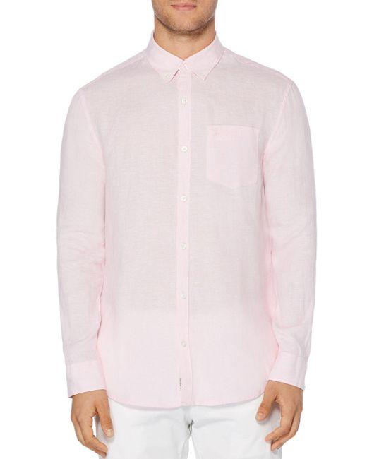 Original Penguin Pink Linen Slim Fit Button - Down Shirt for men