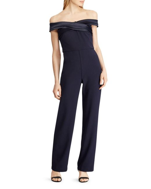 Ralph Lauren Blue Lauren Off - The - Shoulder Crepe Jumpsuit