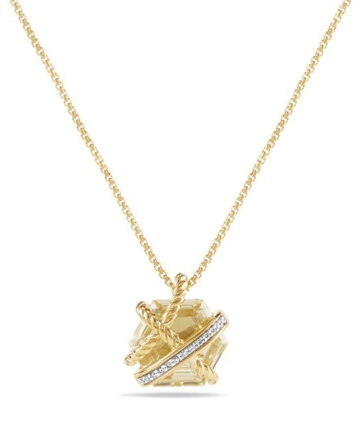 David Yurman - Metallic Cable Wrap Necklace With Champagne Citrine & Diamonds In 18k Gold - Lyst