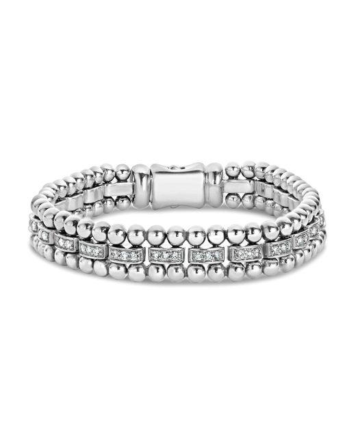 Lagos | Metallic Sterling Silver Caviar Spark Diamond Bar Chain Bracelet | Lyst