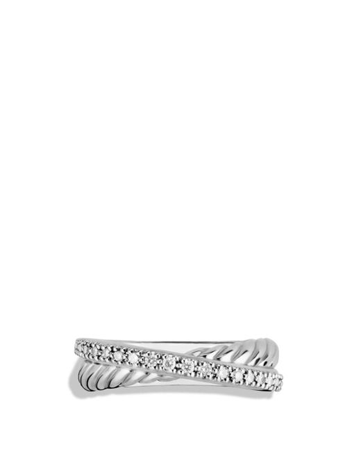 David Yurman Metallic Crossover Ring With Diamonds