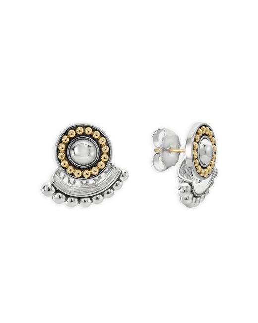 Lagos - Metallic 18k Gold And Sterling Silver Signature Caviar Ear Jackets - Lyst