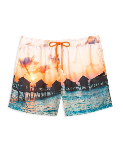 PS by Paul Smith Multicolor Floating Huts Swim Shorts for men