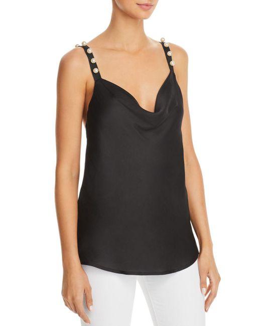 Bardot - Black Embellished Cowl-neck Camisole - Lyst