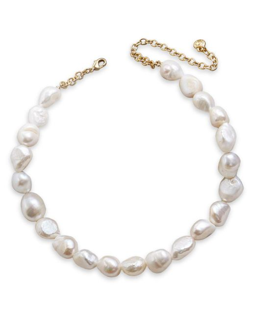 BaubleBar White Lacey Dyed Natural Pearl Statement Necklace