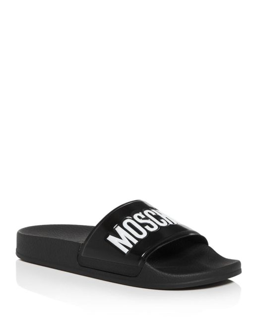 Moschino Black Slides