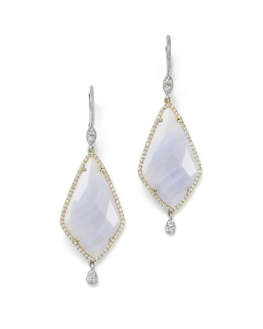 Meira T | 14k Gold And Blue Lace Chalcedony Earrings | Lyst