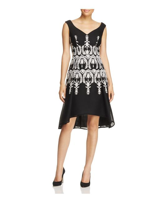 Adrianna Papell | Black Embroidered Sleeveless Dress | Lyst