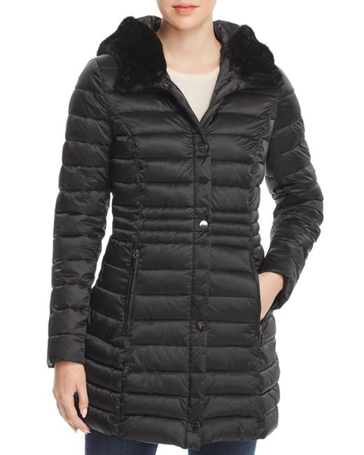 Laundry by Shelli Segal - Black Mercury Puffer Coat With Faux Fur-trimmed Hood - Lyst