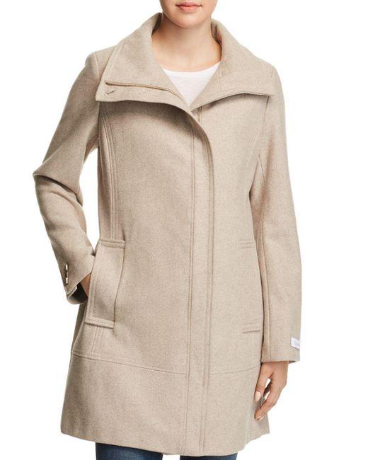 Calvin Klein - Natural Seamed Bouclé Coat - Lyst