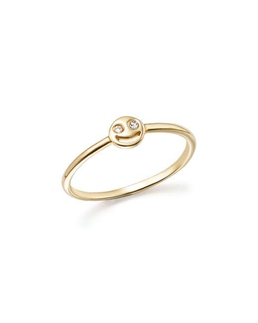 Bing Bang - Metallic 14k Yellow Gold Diamond Smiley Face Ring - Lyst