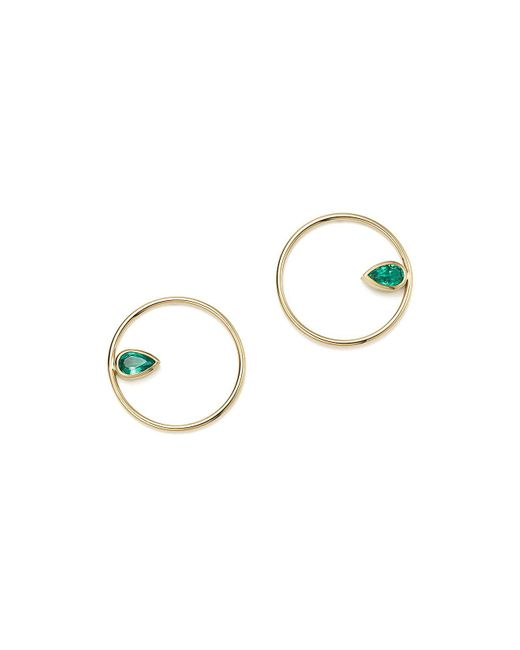 Zoe Chicco | Metallic 14k Yellow Gold Circle & Gemfields Pear-cut Emerald Earrings | Lyst