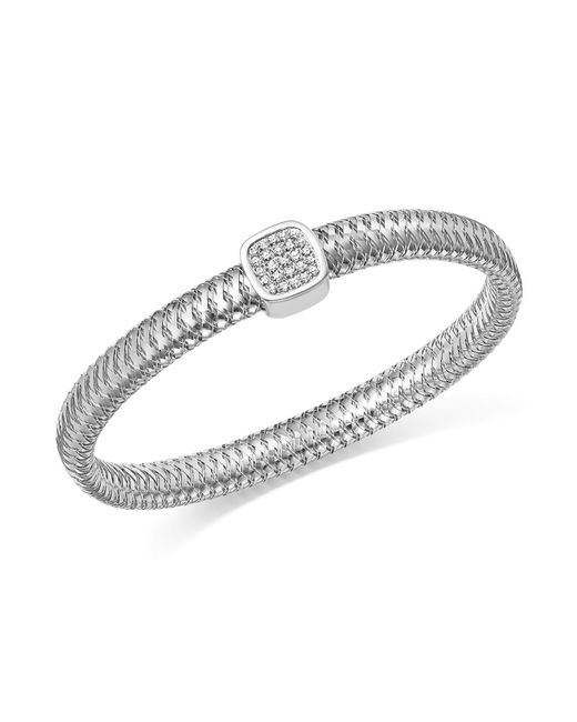 Roberto Coin | 18k White Gold Primavera Pavé Diamond Square Bangle | Lyst