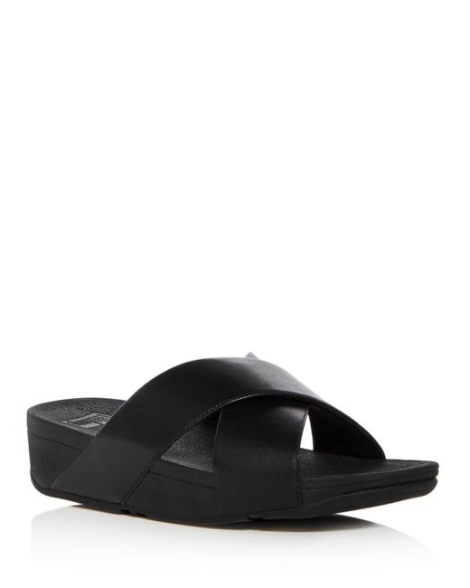 410a2007930bb8 Fitflop - Black Women s Lulu Leather Crisscross Platform Wedge Slide Sandals  ...