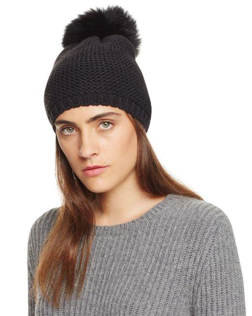 Kyi Kyi Black Slouchy Hat With Fox Fur Pom - Pom
