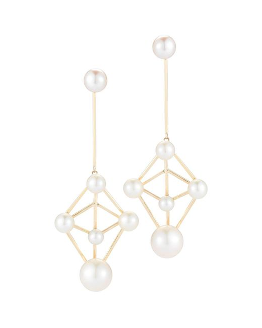 Mateo - Metallic 14k Yellow Gold Cultured Freshwater Pearl Atomium Drop Earrings - Lyst