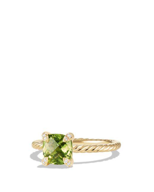 David Yurman - Metallic Châtelaine Ring With Peridot And Diamonds In 18k Gold - Lyst