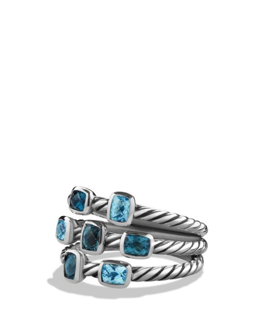 David Yurman - Metallic Confetti Ring With Blue Topaz And Hampton Blue Topaz - Lyst