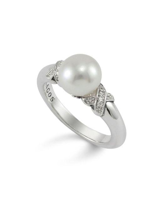 Lagos - Metallic Luna Pearl Diamond X Ring - Lyst