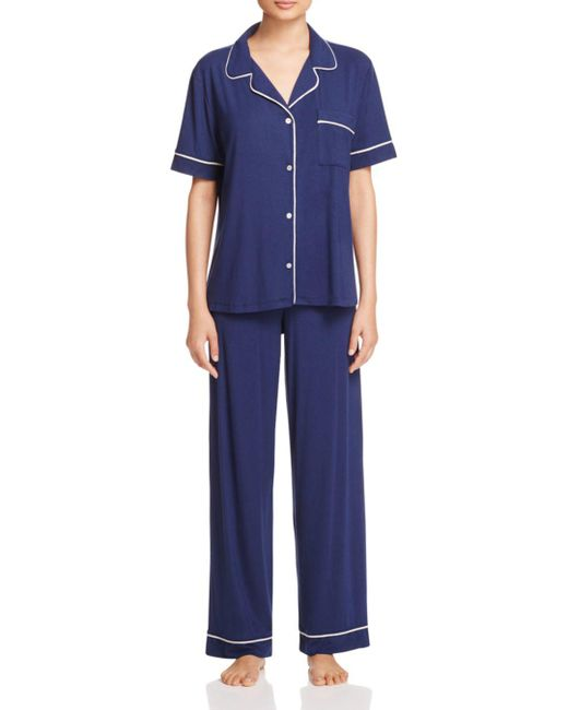 Eberjey - Blue Gisele Short Sleeve Long Pant Pajama Set - Lyst