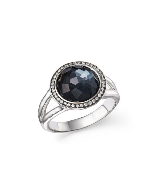 Ippolita - Metallic Stella Ring In Hematite Doublet With Diamonds In Sterling Silver - Lyst