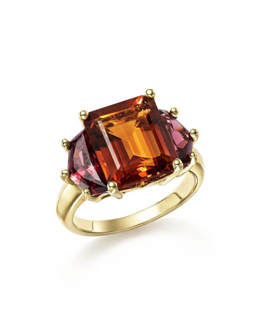 Bloomingdale's Multicolor Citrine And Garnet Statement Ring In 14k Yellow Gold