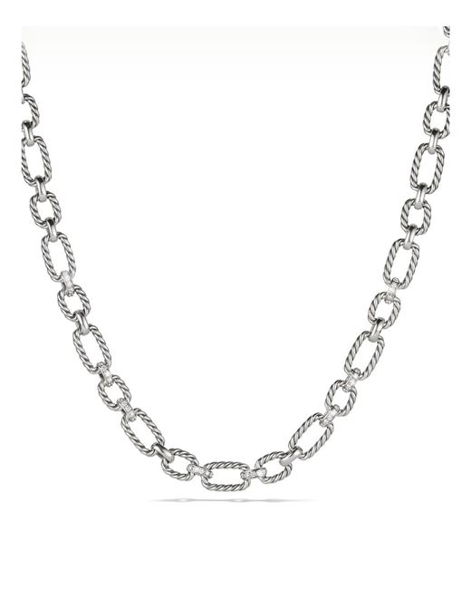 David Yurman - Metallic Cushion Chain Link Necklace With Diamonds - Lyst