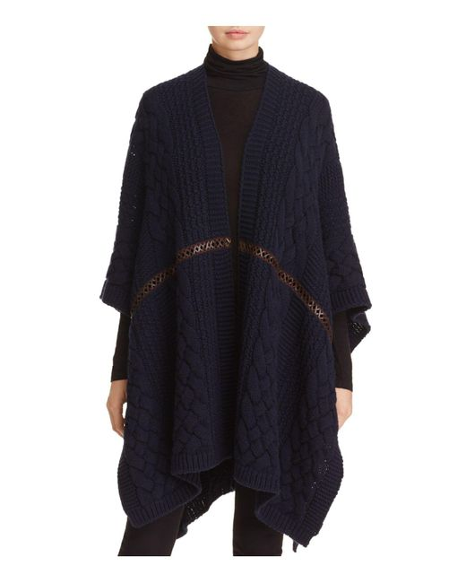 Weekend by Maxmara | Blue Zoe Leather-inset Knit Poncho | Lyst