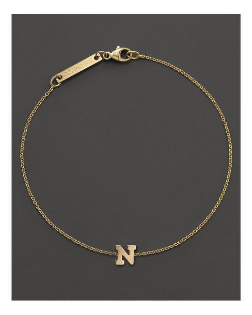 Zoe Chicco - Metallic 14k Yellow Gold Initial Bracelet - Lyst
