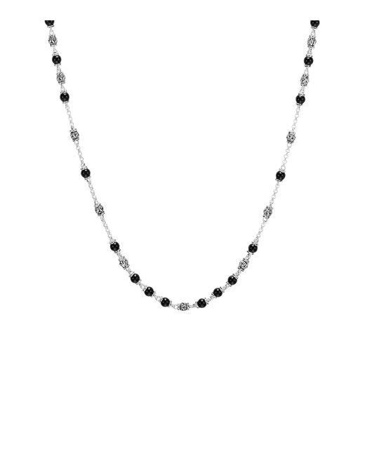 John Hardy   Metallic Sterling Silver Classic Chain Necklace With Black Onyx Beads   Lyst