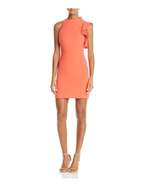 Black Halo | Pink Pabla Ruffle-trim Mini Dress | Lyst