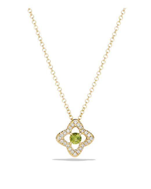 David Yurman | Metallic Venetian Quatrefoil Necklace With Peridot And Diamonds In 18k Gold | Lyst