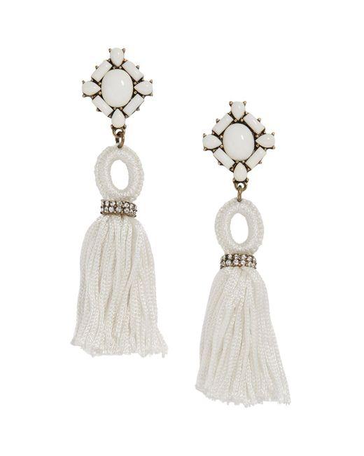 BaubleBar | White Sohvi Tassel Drop Earrings | Lyst